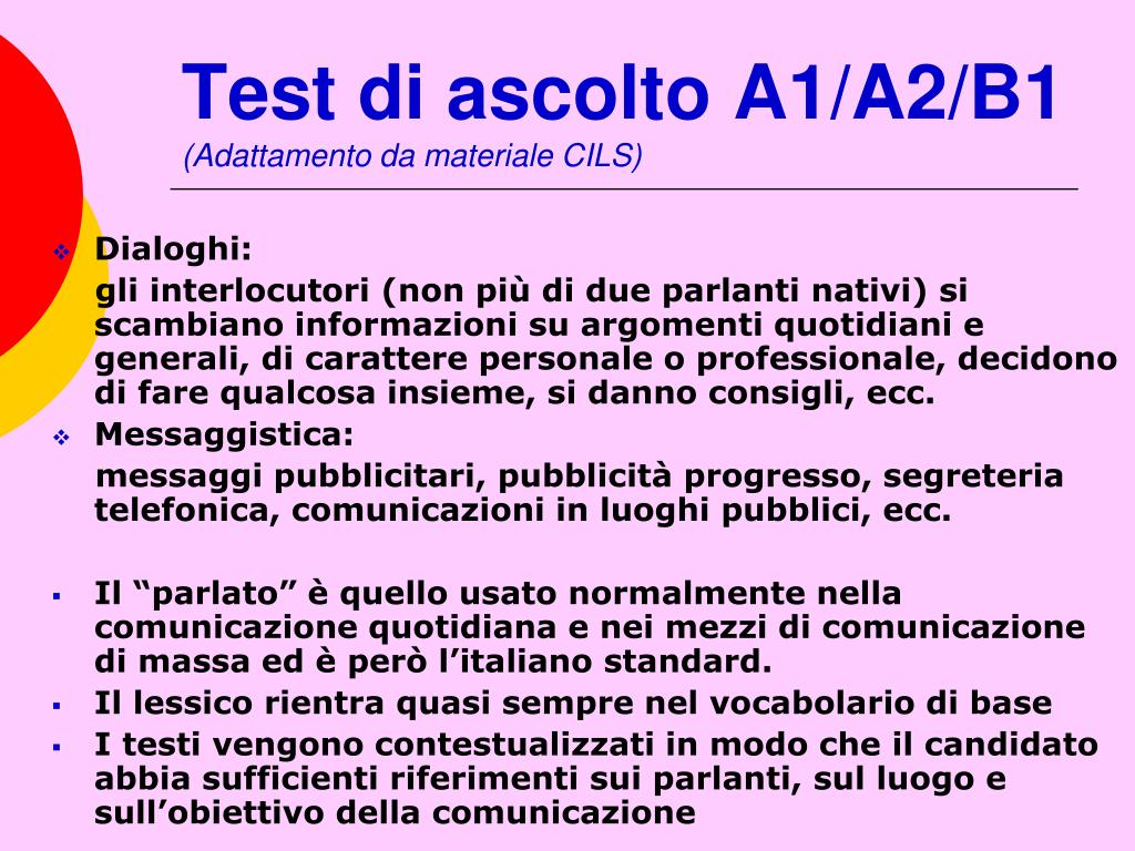 Test di ascolto A1/A2/B1