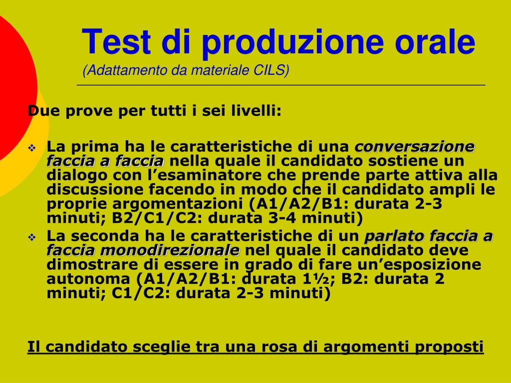 Test di produzione orale