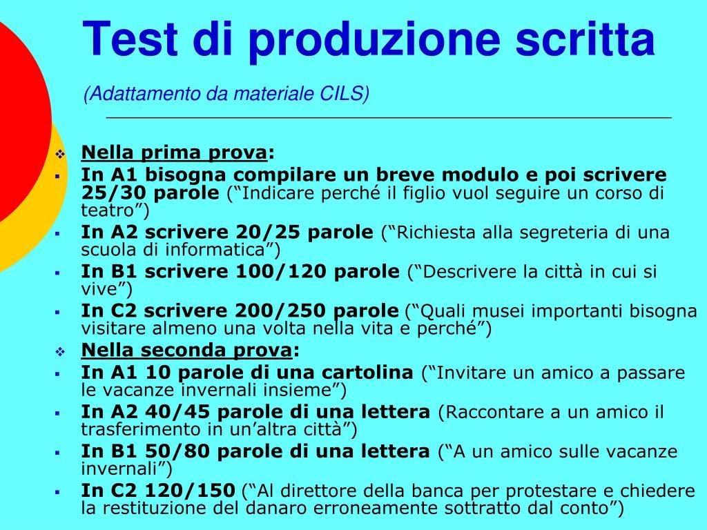 Test di produzione scritta
