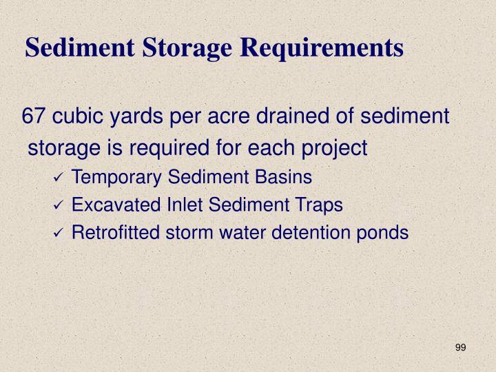 Sediment Storage Requirements