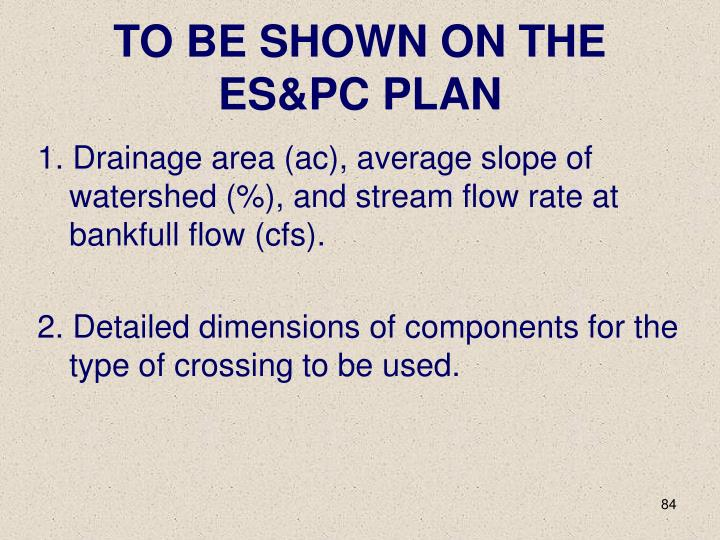 TO BE SHOWN ON THE ES&PC PLAN