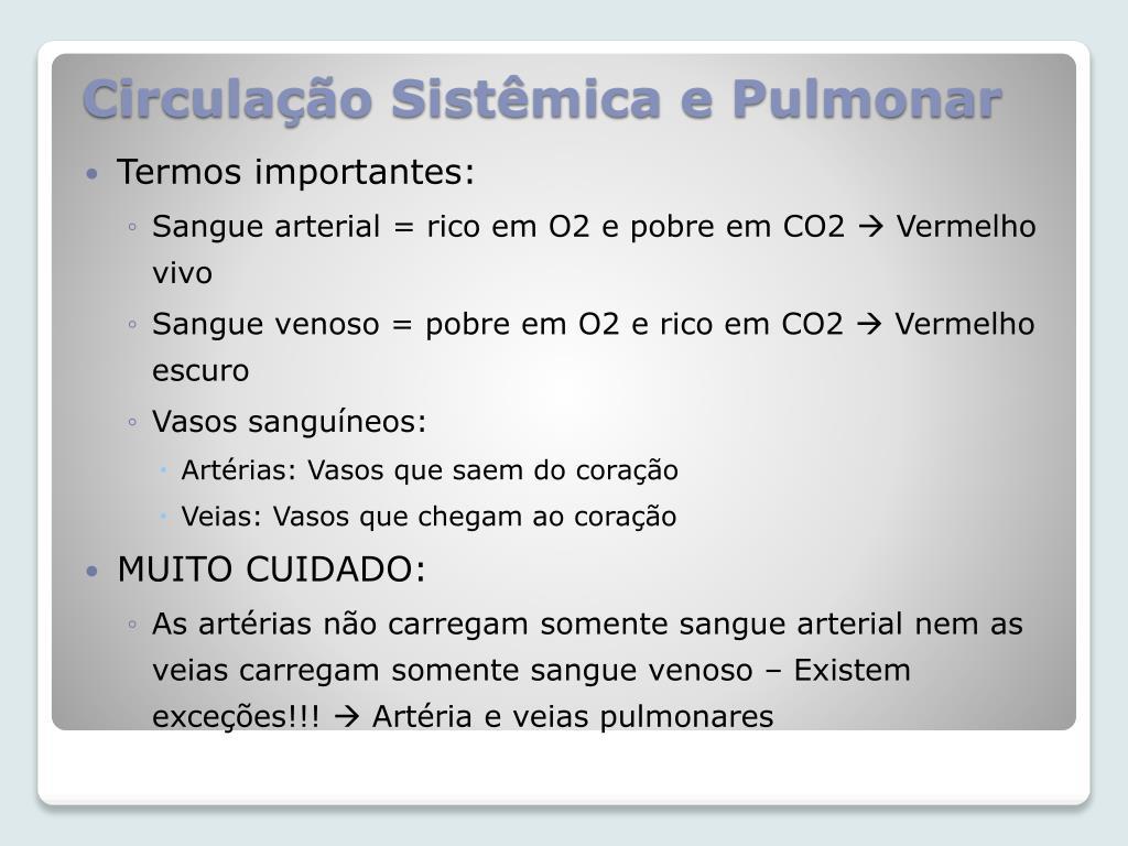 Circulação Sistêmica e Pulmonar