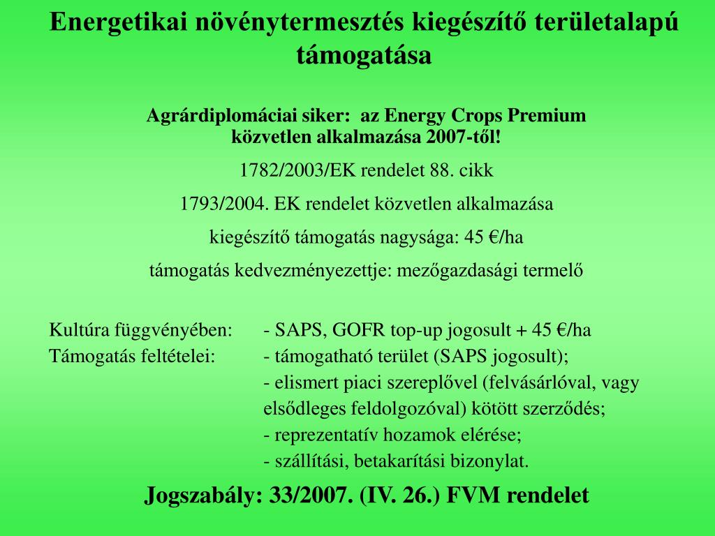 Energetikai növénytermesztés kiegészítő területalapú
