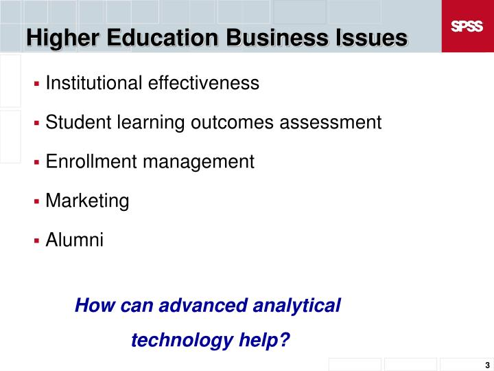 Higher education business issues