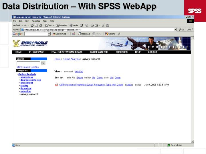 Data Distribution – With SPSS WebApp