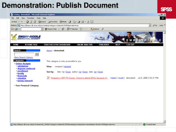 Demonstration: Publish Document