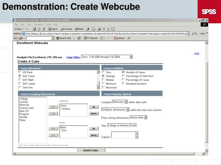 Demonstration: Create Webcube