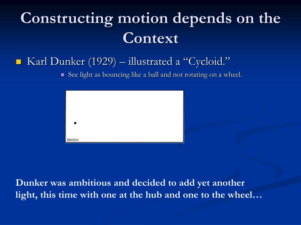 Constructing motion depends on the Context