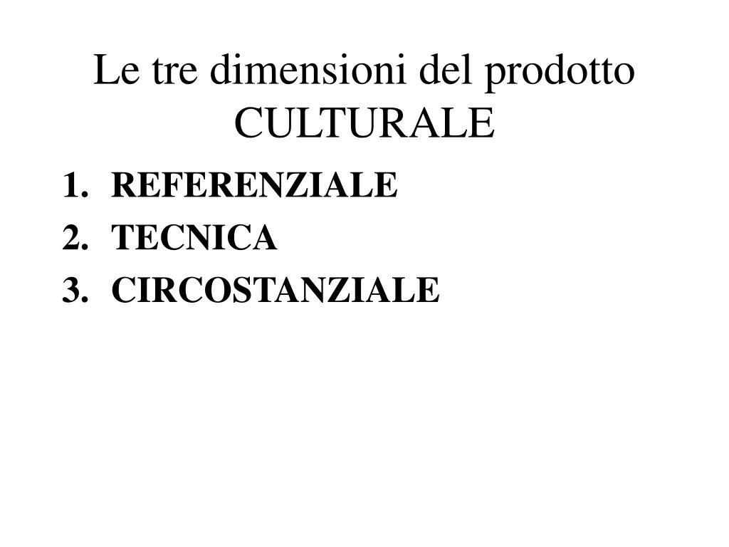 Le tre dimensioni del prodotto