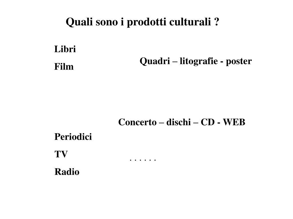 Quali sono i prodotti culturali ?