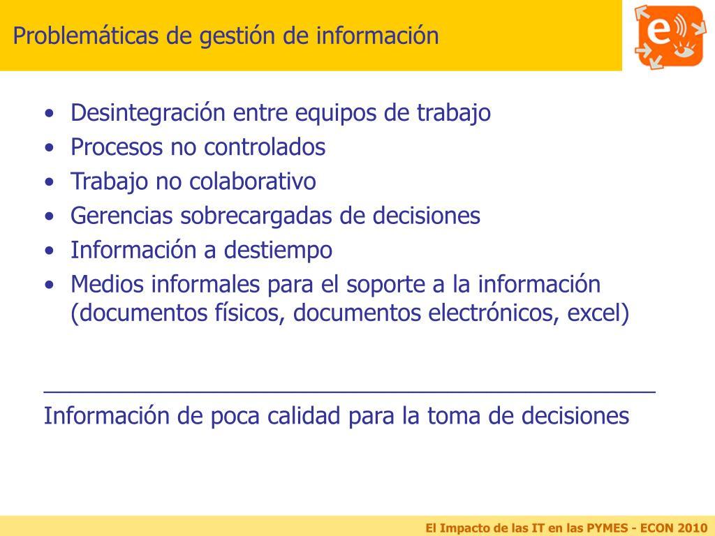 Problemáticas de gestión de información