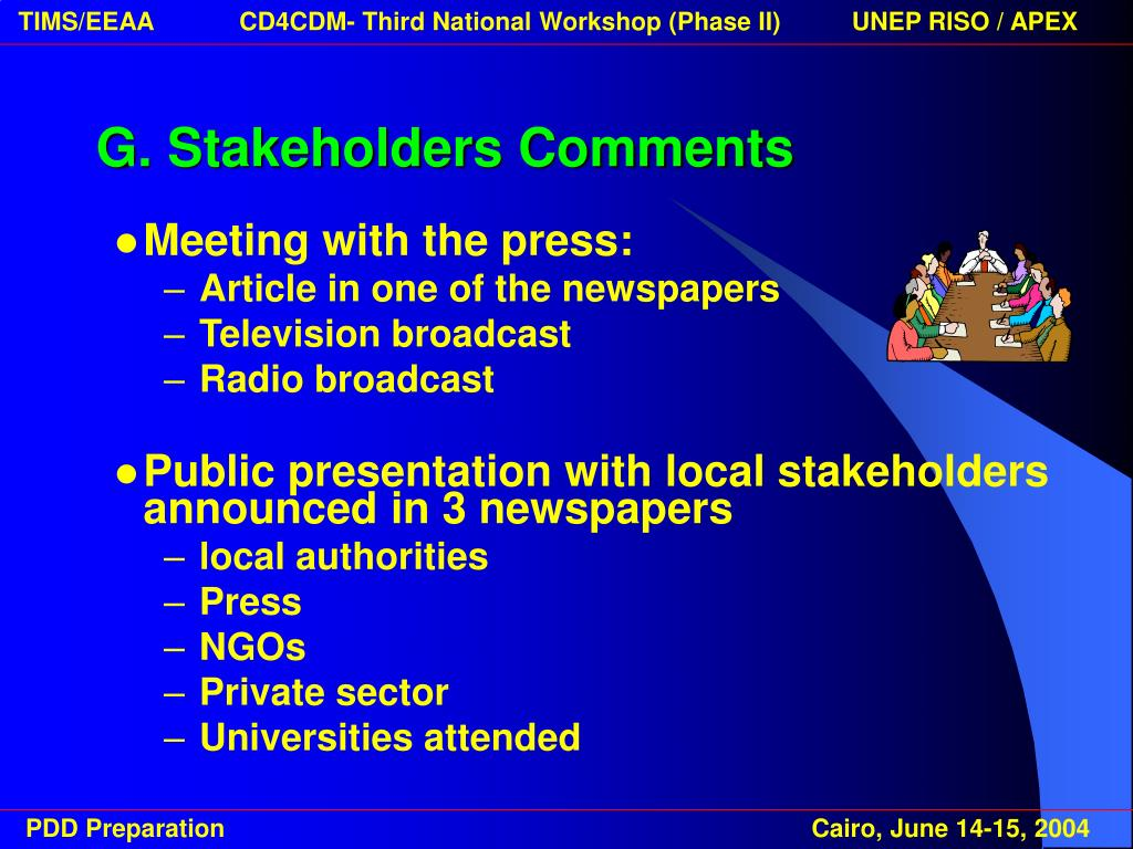 G. Stakeholders Comments