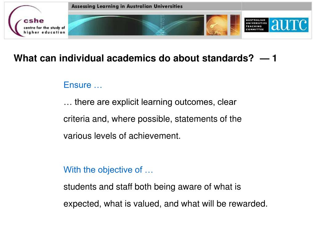 What can individual academics do about standards?  — 1