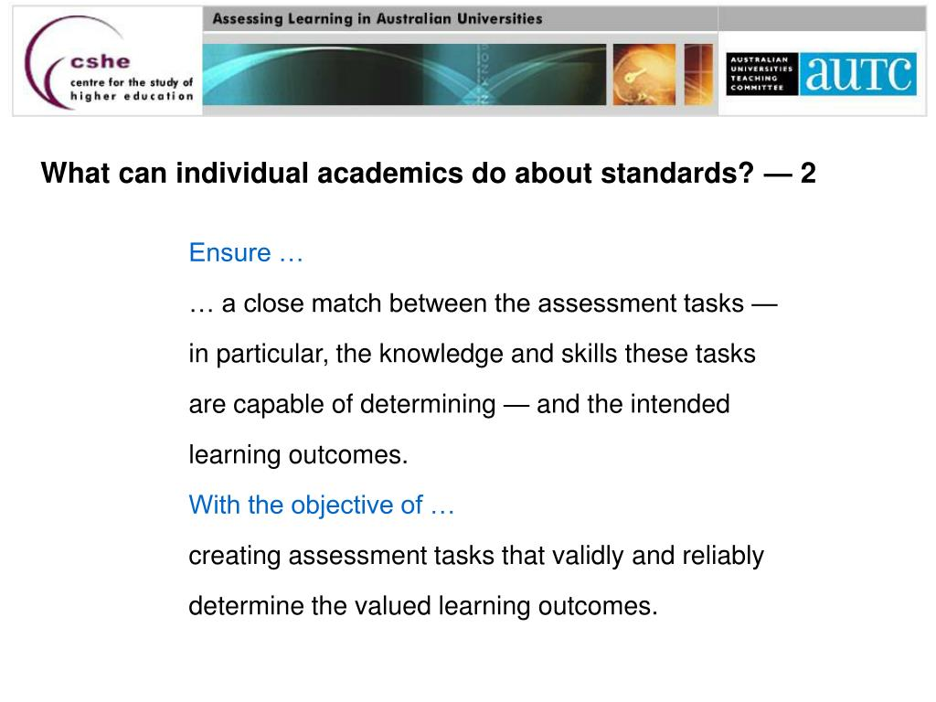 What can individual academics do about standards? — 2