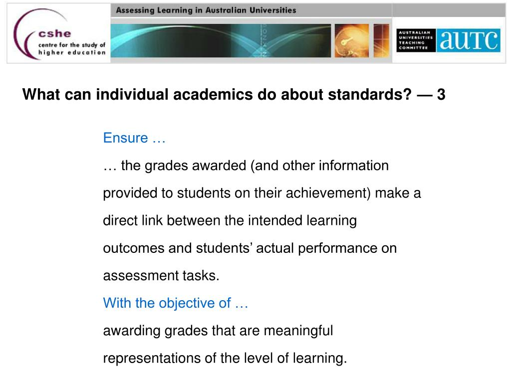 What can individual academics do about standards? — 3