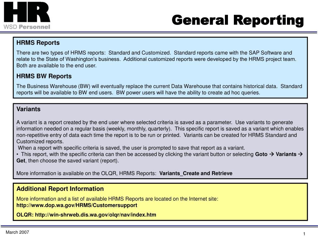 general reporting