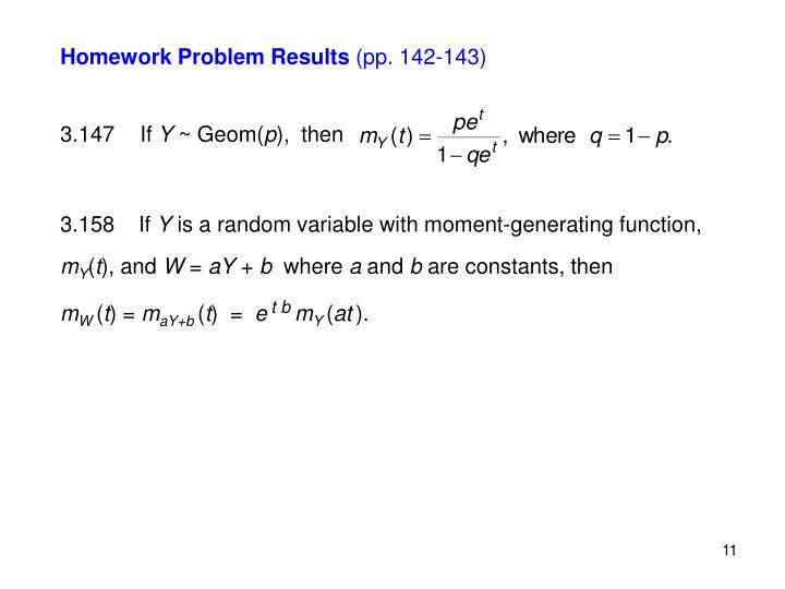 Homework Problem Results