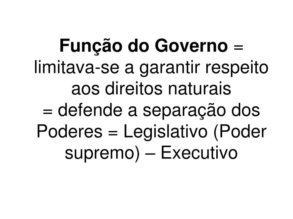 Função do Governo