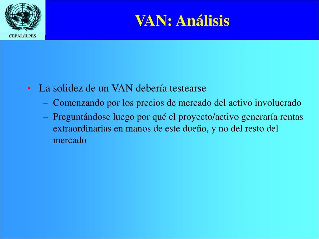 VAN: Análisis
