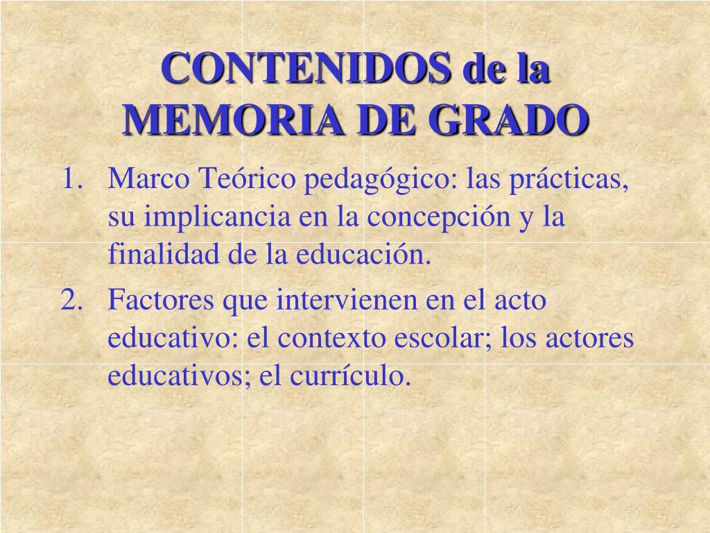 CONTENIDOS de la MEMORIA DE GRADO