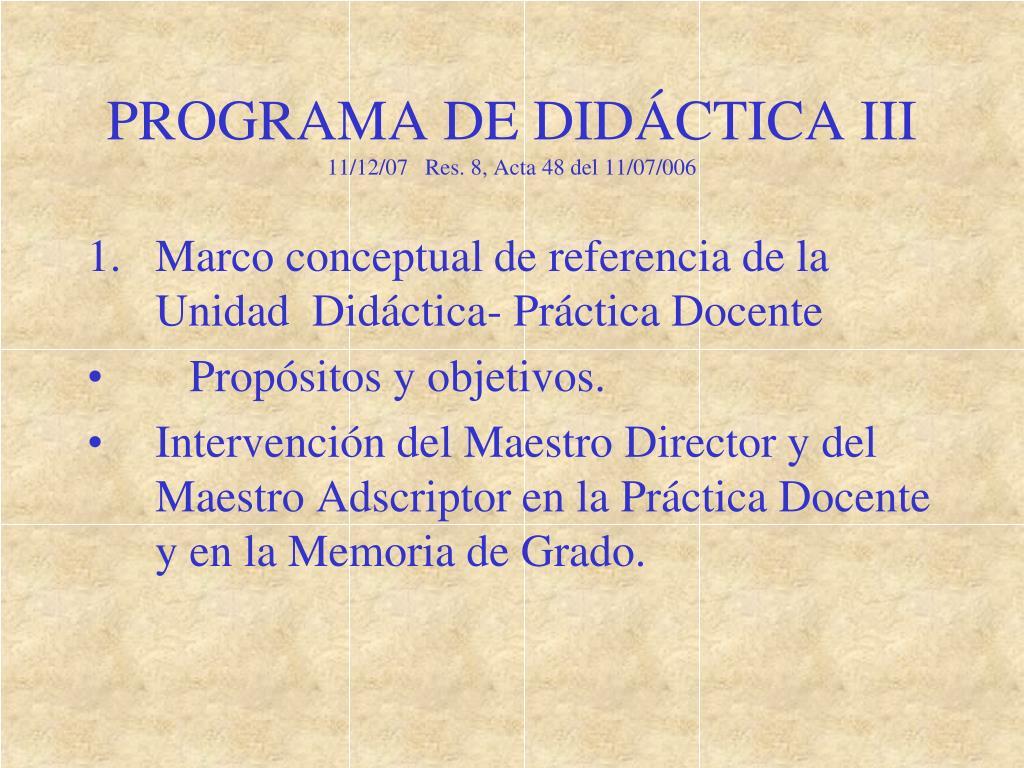 PROGRAMA DE DIDÁCTICA III