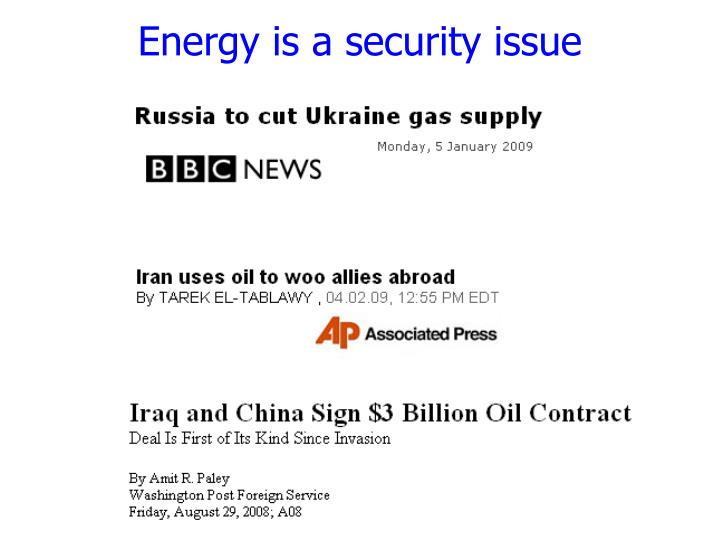 Energy is a security issue