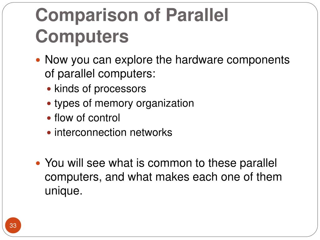 Comparison of Parallel Computers