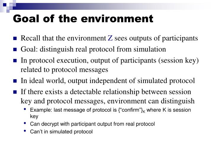 Goal of the environment