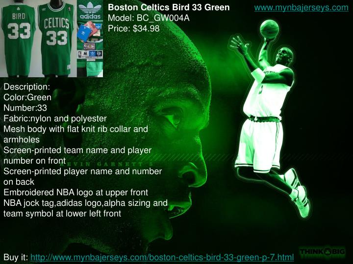 Boston Celtics Bird 33 Green