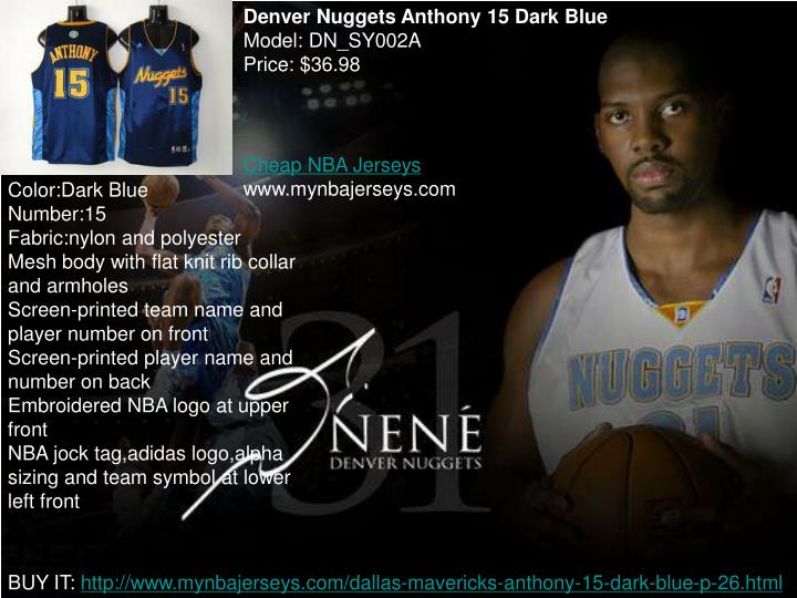 Denver Nuggets Anthony 15 Dark Blue