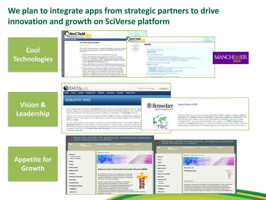 We plan to integrate apps from strategic partners to drive innovation and growth on SciVerse platform