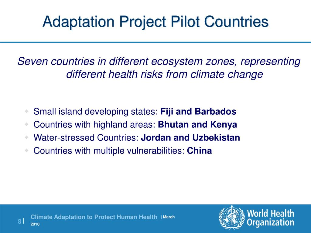 Adaptation Project Pilot Countries