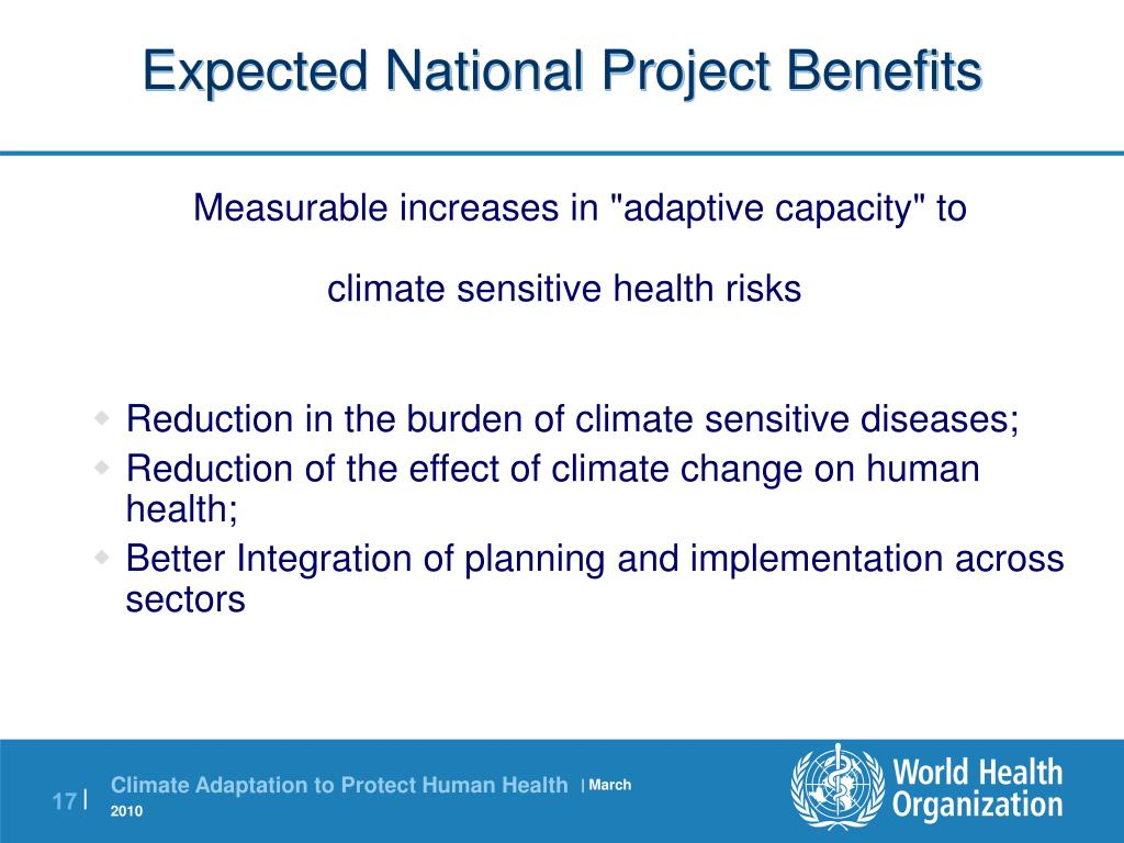 Expected National Project Benefits