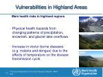 vulnerabilities in highland areas