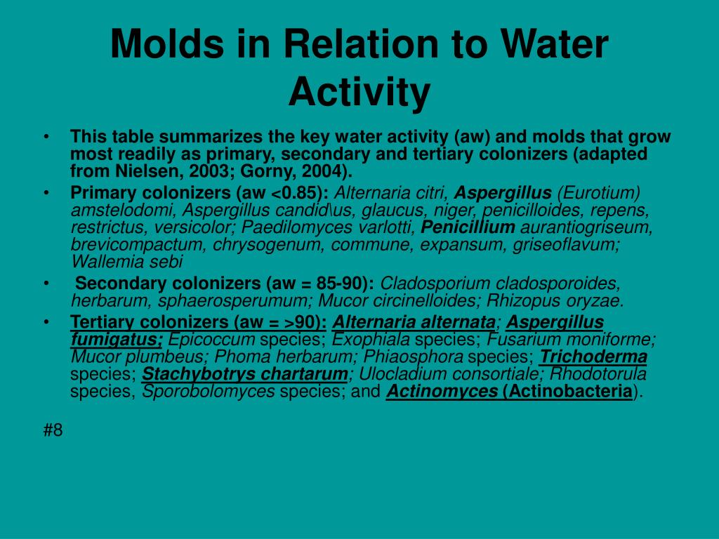 Molds in Relation to Water Activity