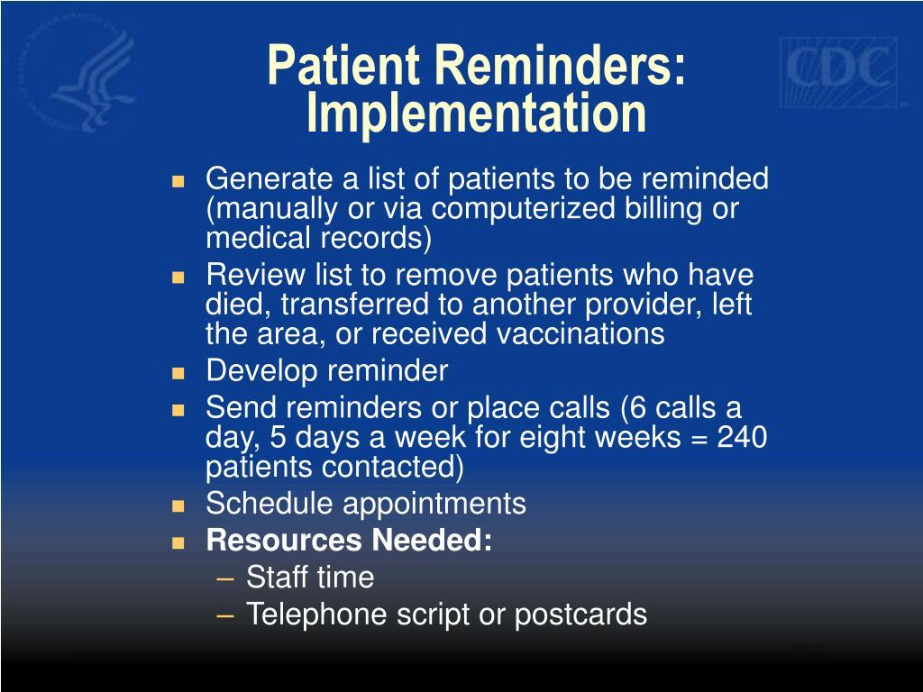 Patient Reminders: Implementation
