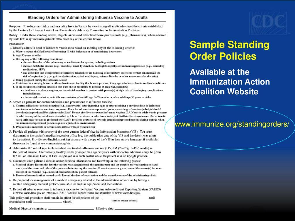 Sample Standing Order Policies