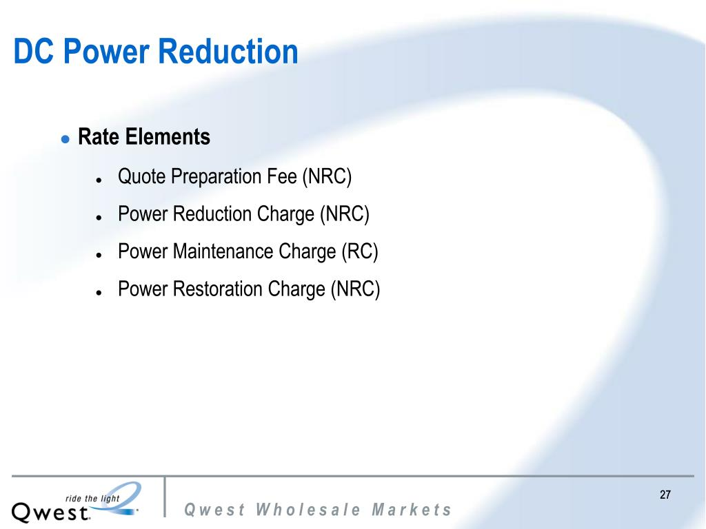 DC Power Reduction