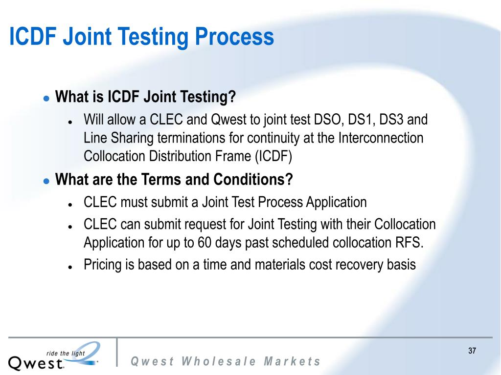 ICDF Joint Testing Process