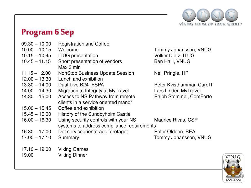 Program 6 Sep