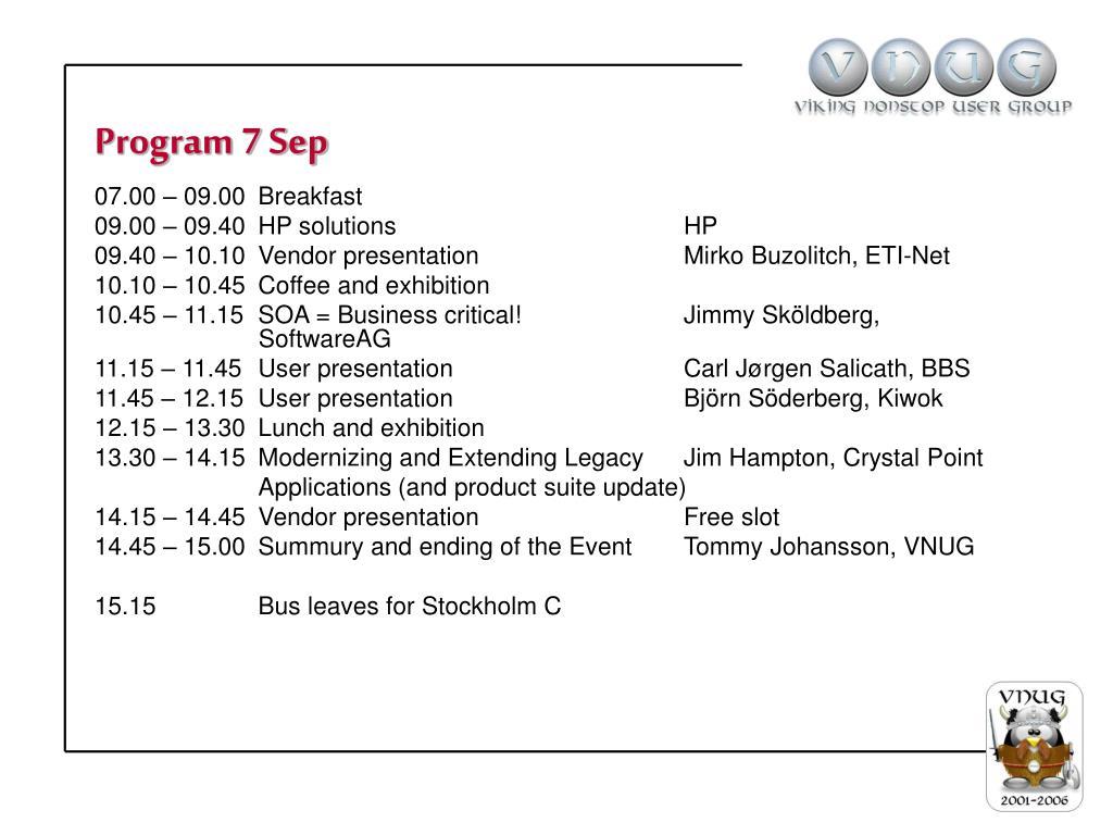 Program 7 Sep