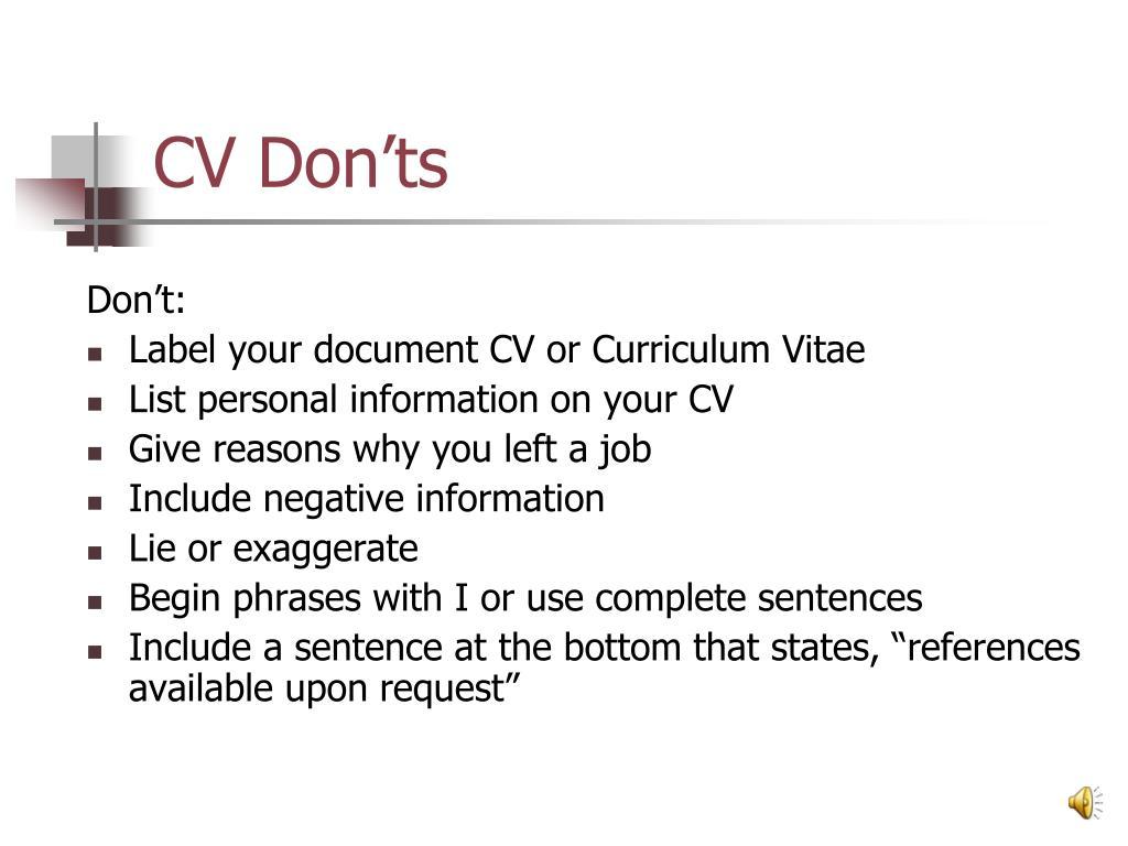 CV Don'ts