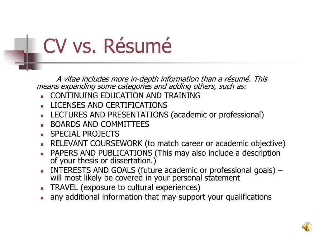 CV vs. Résumé