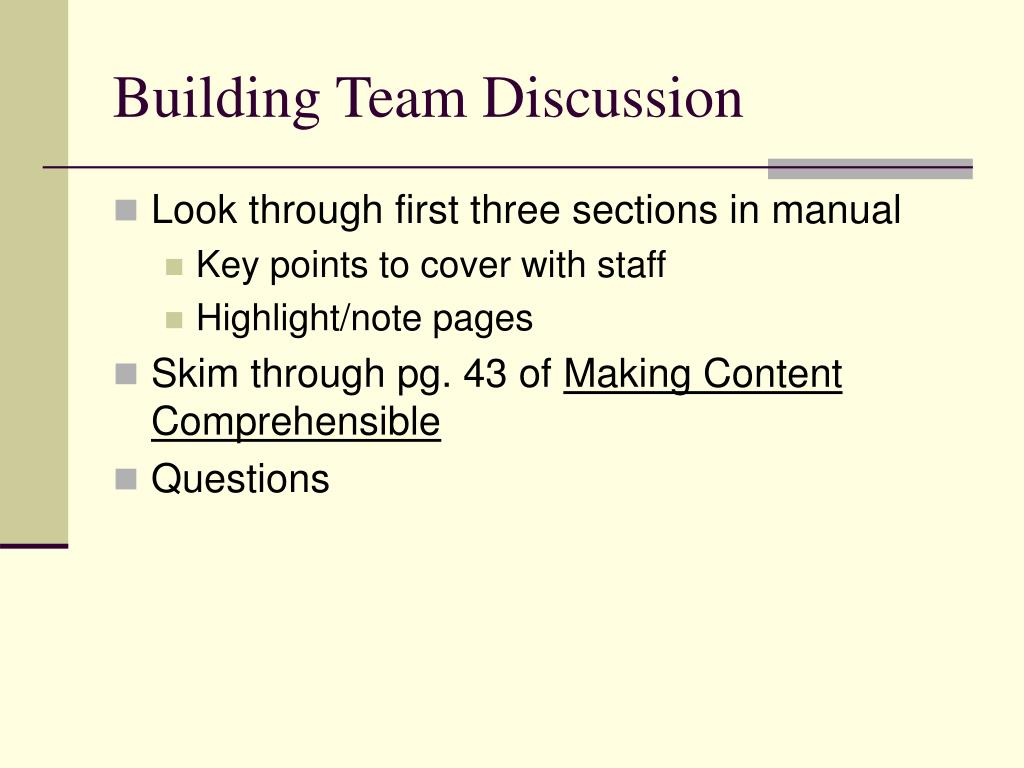 Building Team Discussion