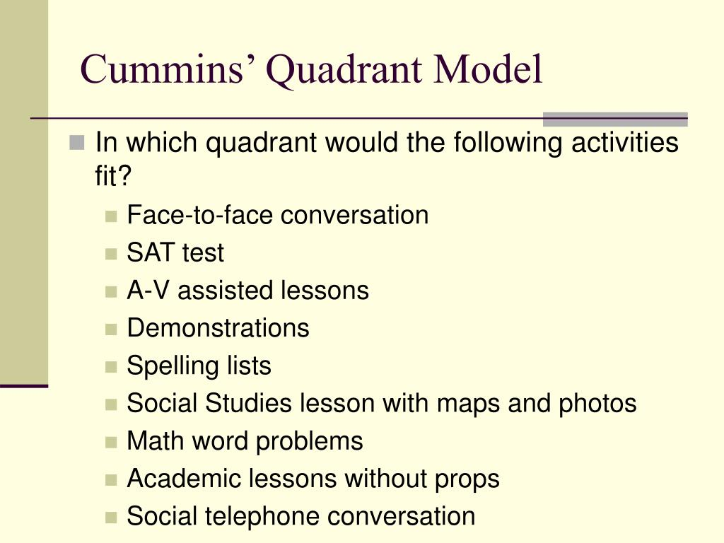 Cummins' Quadrant Model