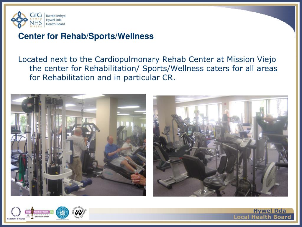 Located next to the Cardiopulmonary Rehab Center at Mission Viejo the center for Rehabilitation/ Sports/Wellness caters for all areas for Rehabilitation and in particular CR.