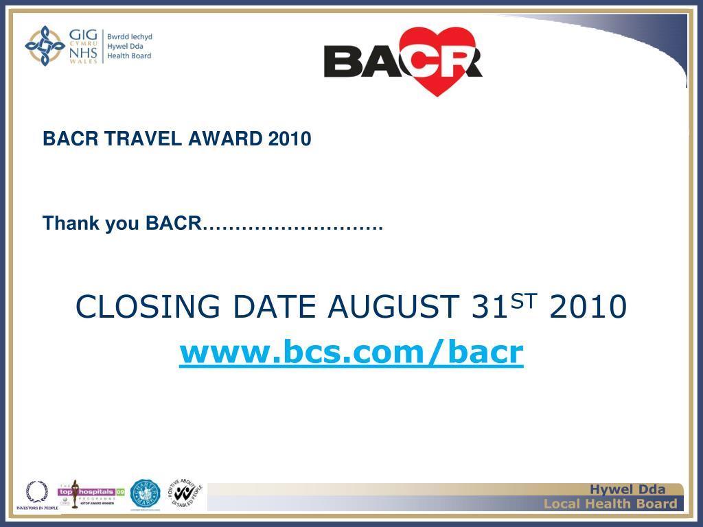 BACR TRAVEL AWARD 2010