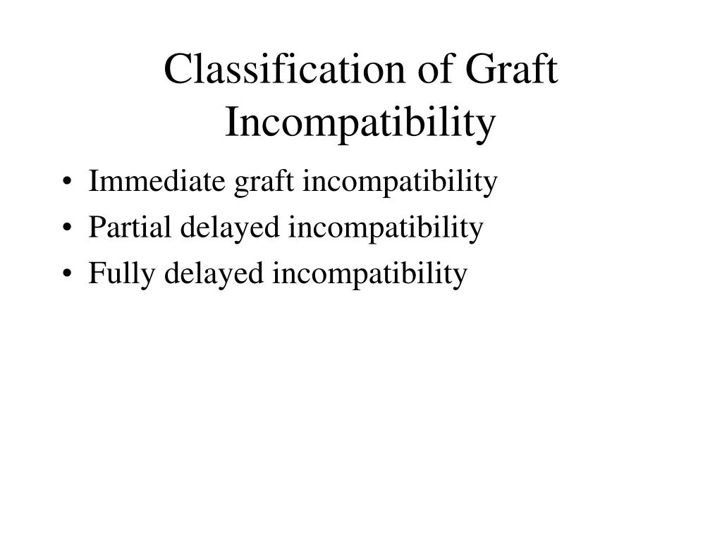 Classification of Graft Incompatibility