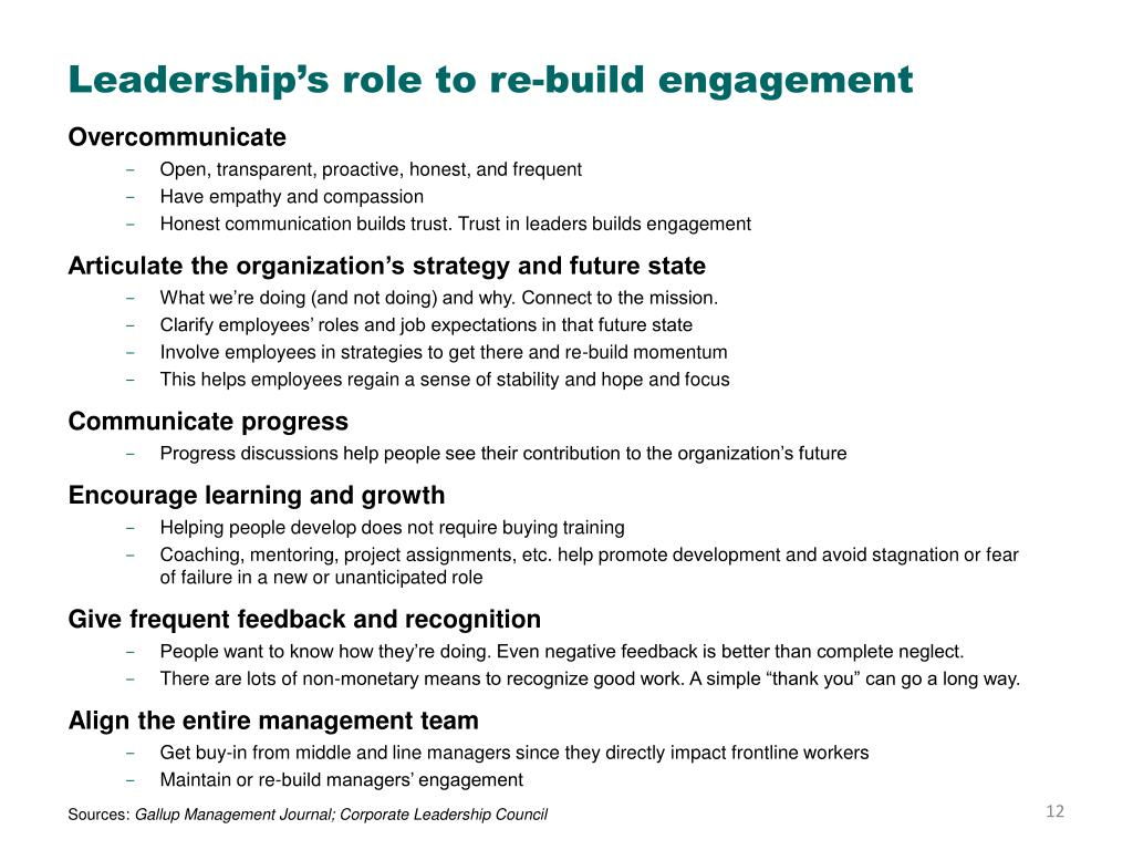 Leadership's role to re-build engagement