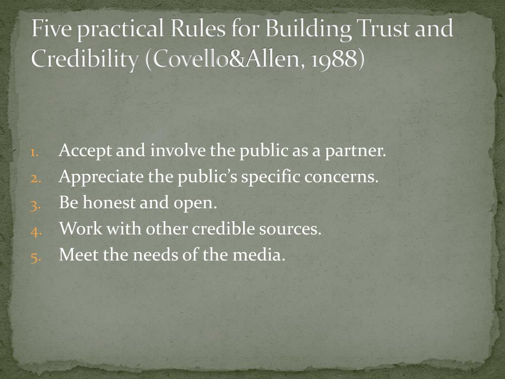 Five practical Rules for Building Trust and Credibility (Covello